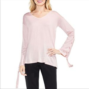 Vince Camuto Lace Bell Sleeve Pink Sweater